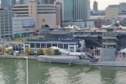 Stern side of Intrepid Museum with various aircrafts on board in Manhattan NYC.jpg