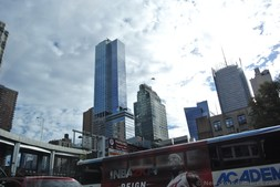 Tall buildings of Manhattan after emerging from Lincoln tunnel.jpg
