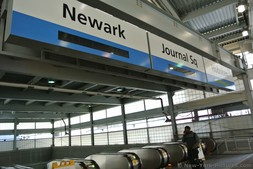 Signs for Newark Journal Sq & Hoboken at World Trade Center PATH Train station New York City.jpg