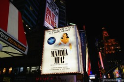 Mama Mia broadway show sign at at Time Square in New York.jpg